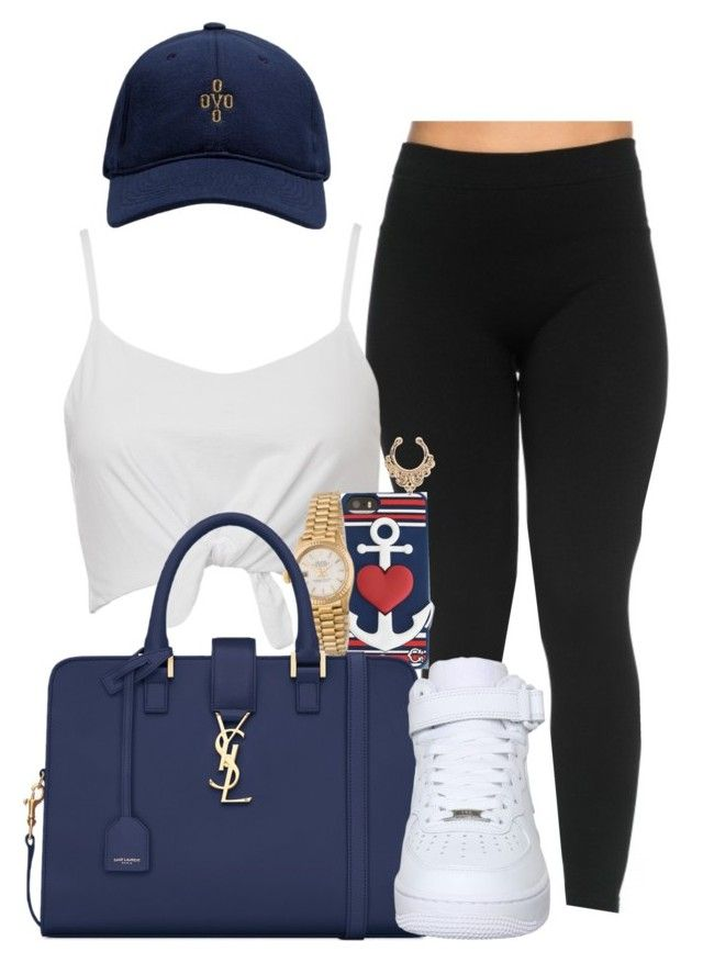 """Untitled #1114"" by melaninprincess-16 ❤ liked on Polyvore featuring October's Very Own, C. Wonder, Rolex, Yves Saint Laurent and NIKE"