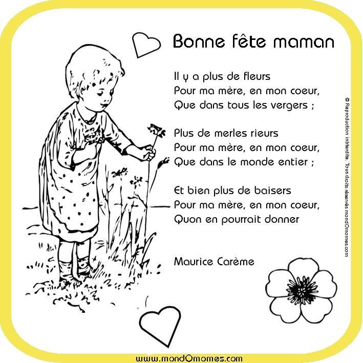 Coloriage Fete Ecole.Poeme A Colorier Fete Des Meres Poesies Et Plus Art