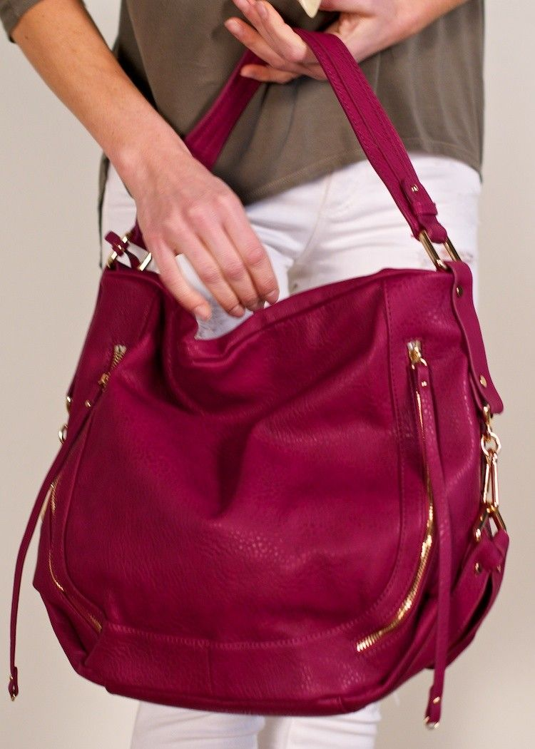 4debfb1dce Urban Expressions Jessie hobo  raspberry vegan leather hobo bag