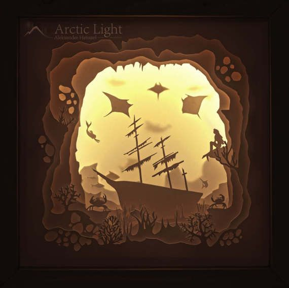 The Shipwreck, Shadowbox, Diorama, Light Box, Nightlamp, Lamp, Papercraft #dioramaideas