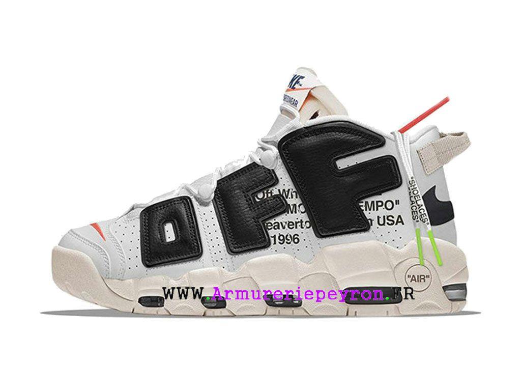 c8219ea45cc 2018 Nouvelle Coutume Nike-Off-White-Uptempo taille des hommes Blanc Noir  AA4060