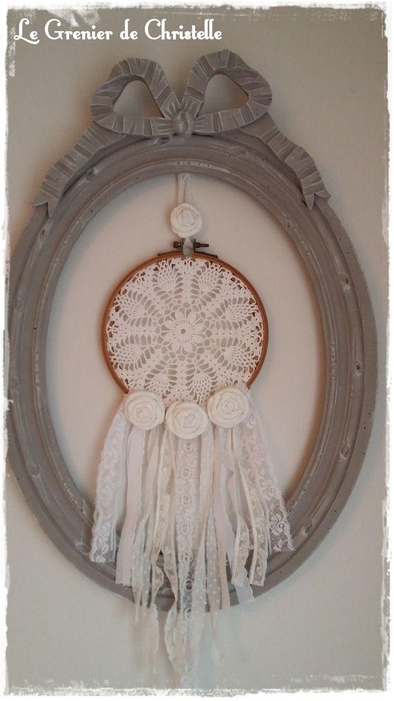 attrape r ve napperon dentelle roses en tissu dreamcatcher pinterest roses en tissu. Black Bedroom Furniture Sets. Home Design Ideas
