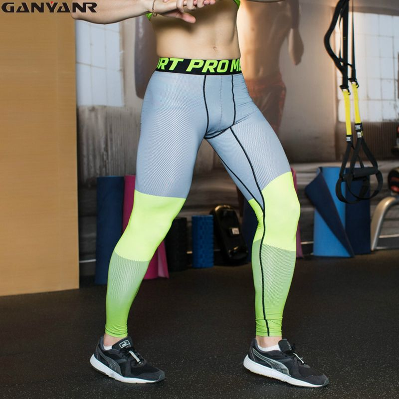 a249876749 GANYANR Brand Running Tights Men Compression Long Pants Fitness Leggings  Sports Jogging Spandex Quick Dry Training Patchwork Gym