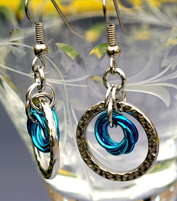 Anthea - Aluminum chainmaille earrings