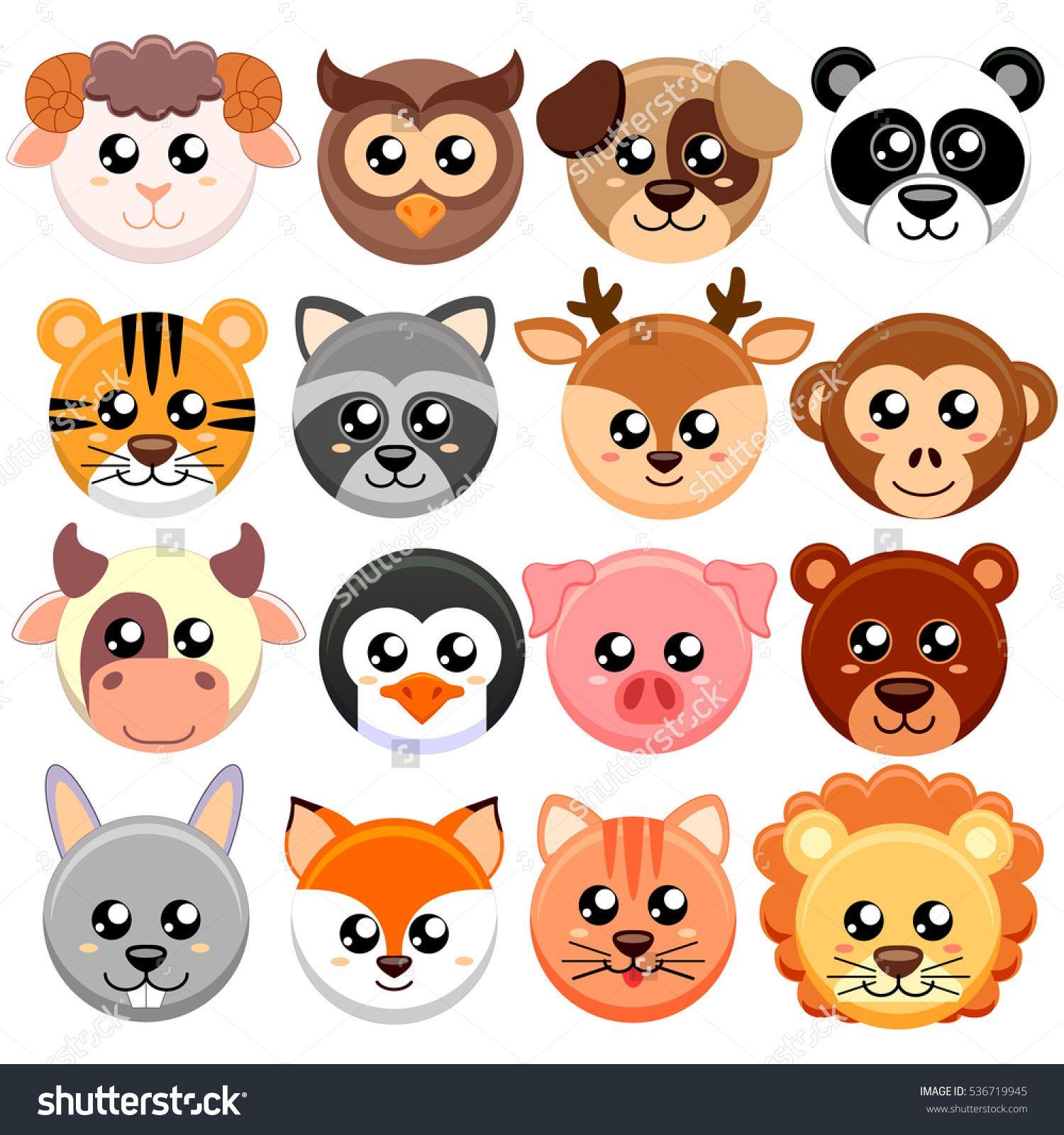 Cute Cartoon Animals Head Round Shape Bear Cat Dog Pig Rabbit Cow Deer Lion Sheep Tig Desenhos De Animais Fofos Cabeca De Desenho Rabiscos De Animais