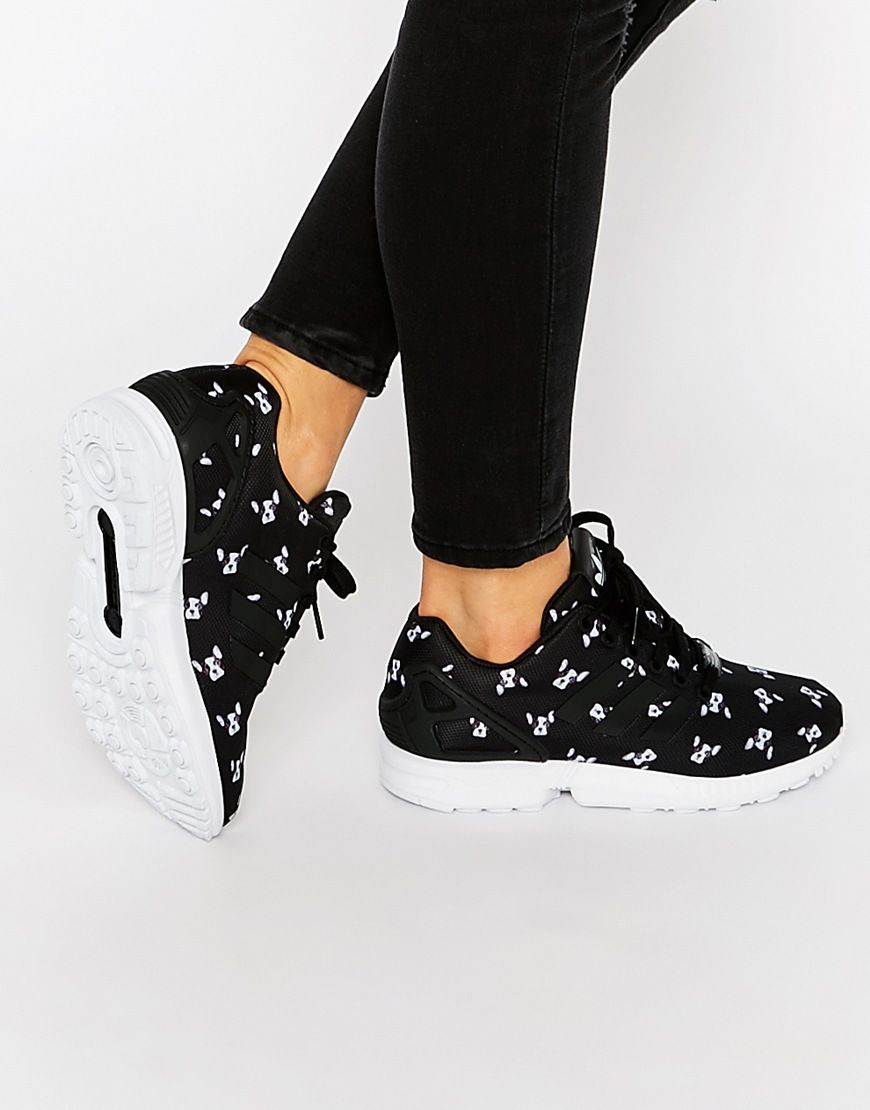 adidas Originals x Rita Ora French Bull Dog Print ZX Flux Sneakers at  asos.com