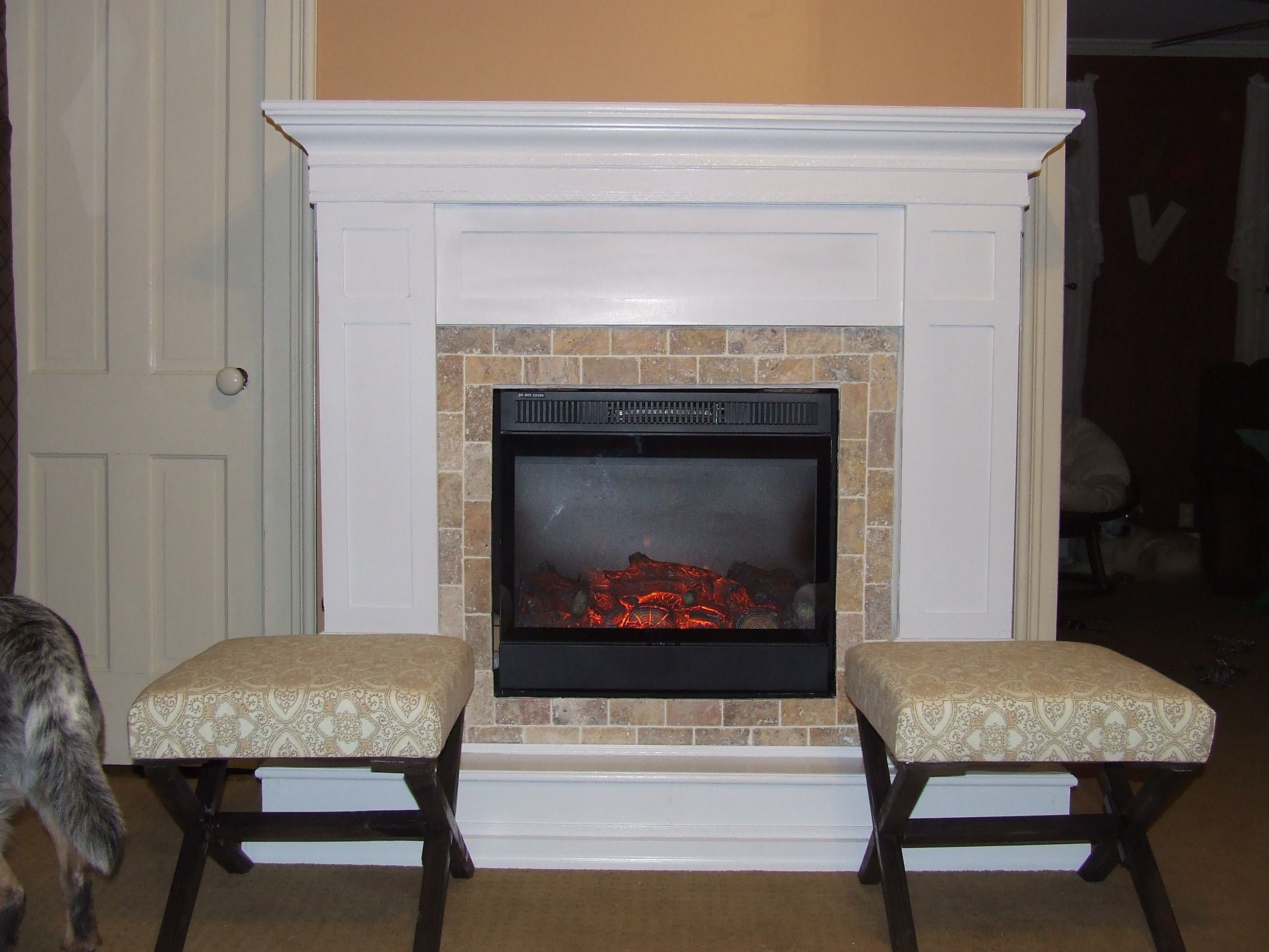 So, I built a fireplace surround and hearth benches all