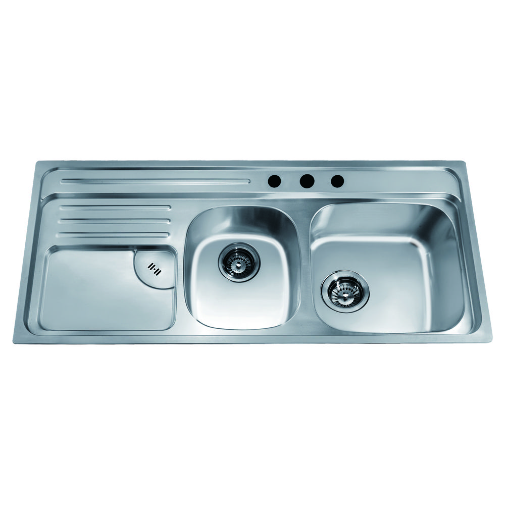 CH366 Top Mount Double Bowl Sink with Integral Drain Board and 3 ...