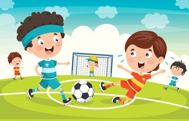 Little Children Playing Football Outdoor In 2020 Football Kids Kids Playing Football Soccer Drawing