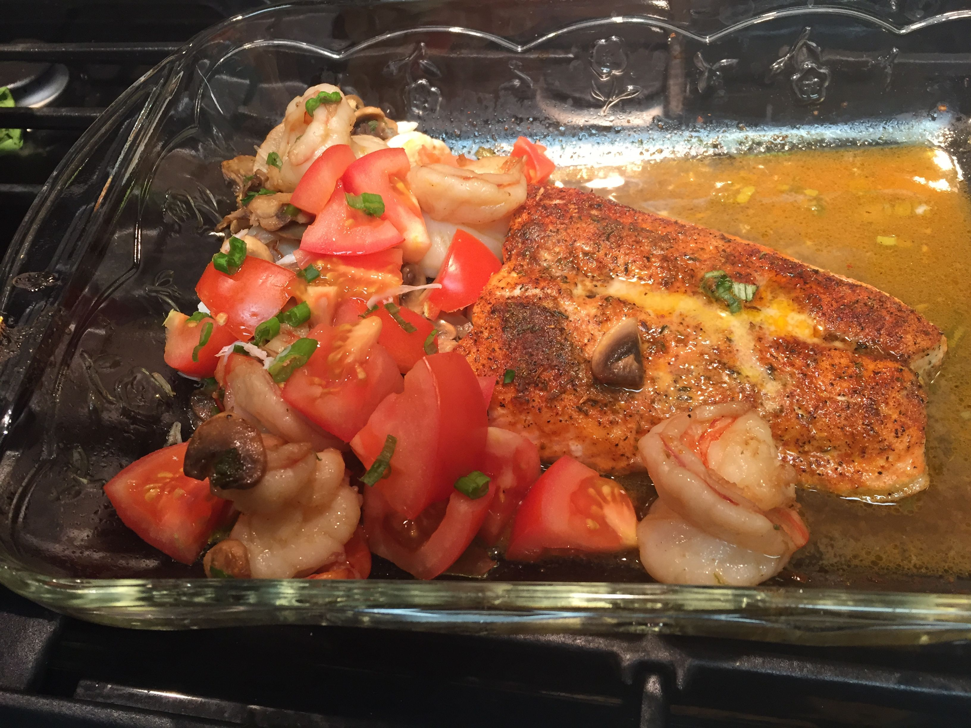 Fresh Baked Salmon Jumbo Lump Crab And Prawns Scallions Tomato White Wine Butter Sauce Organic Everything Baked Salmon White Wine Butter Sauce Wine Butter
