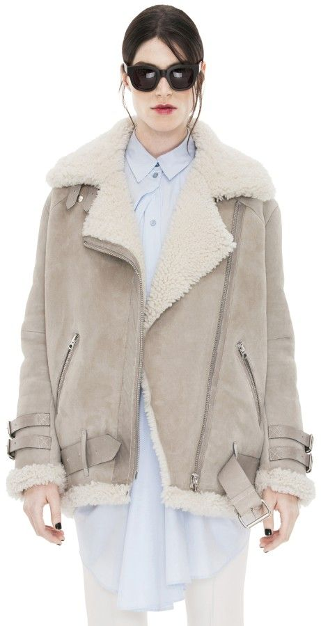 Velocite Black Noir Oversized Shearling Jacket - Acne Studios ...