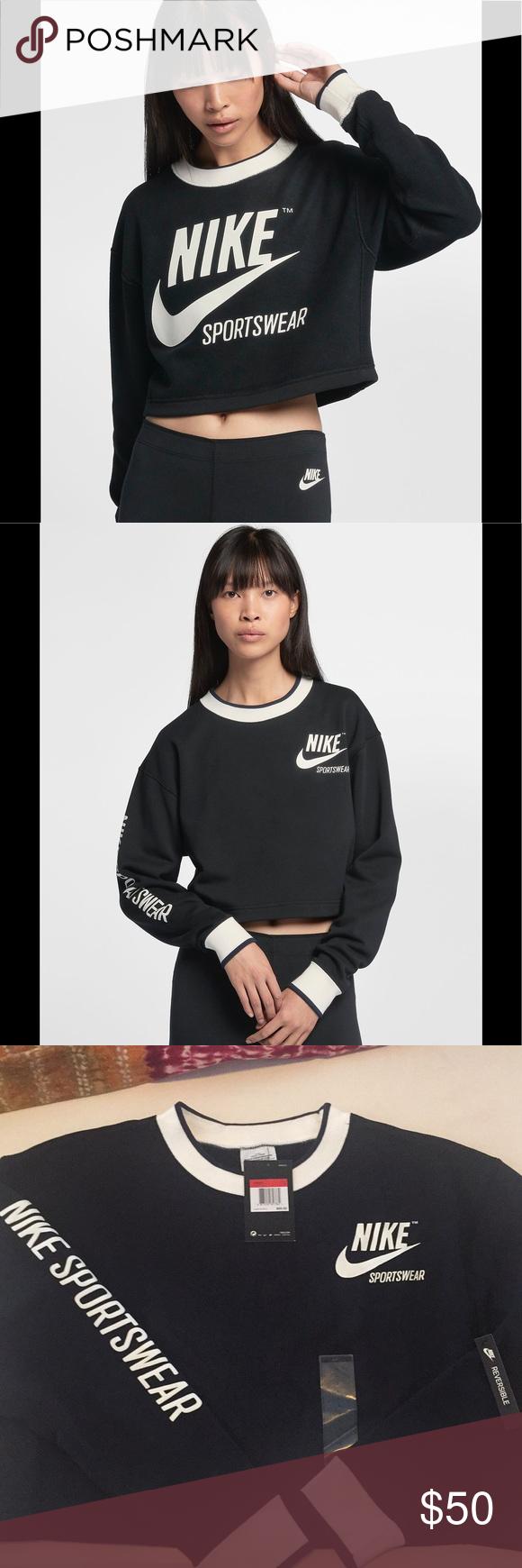 Predownload: Nike Reversible Cropped Sweatshirt B W Size L Fashion Clothes Design Crop Sweatshirt [ 1740 x 580 Pixel ]