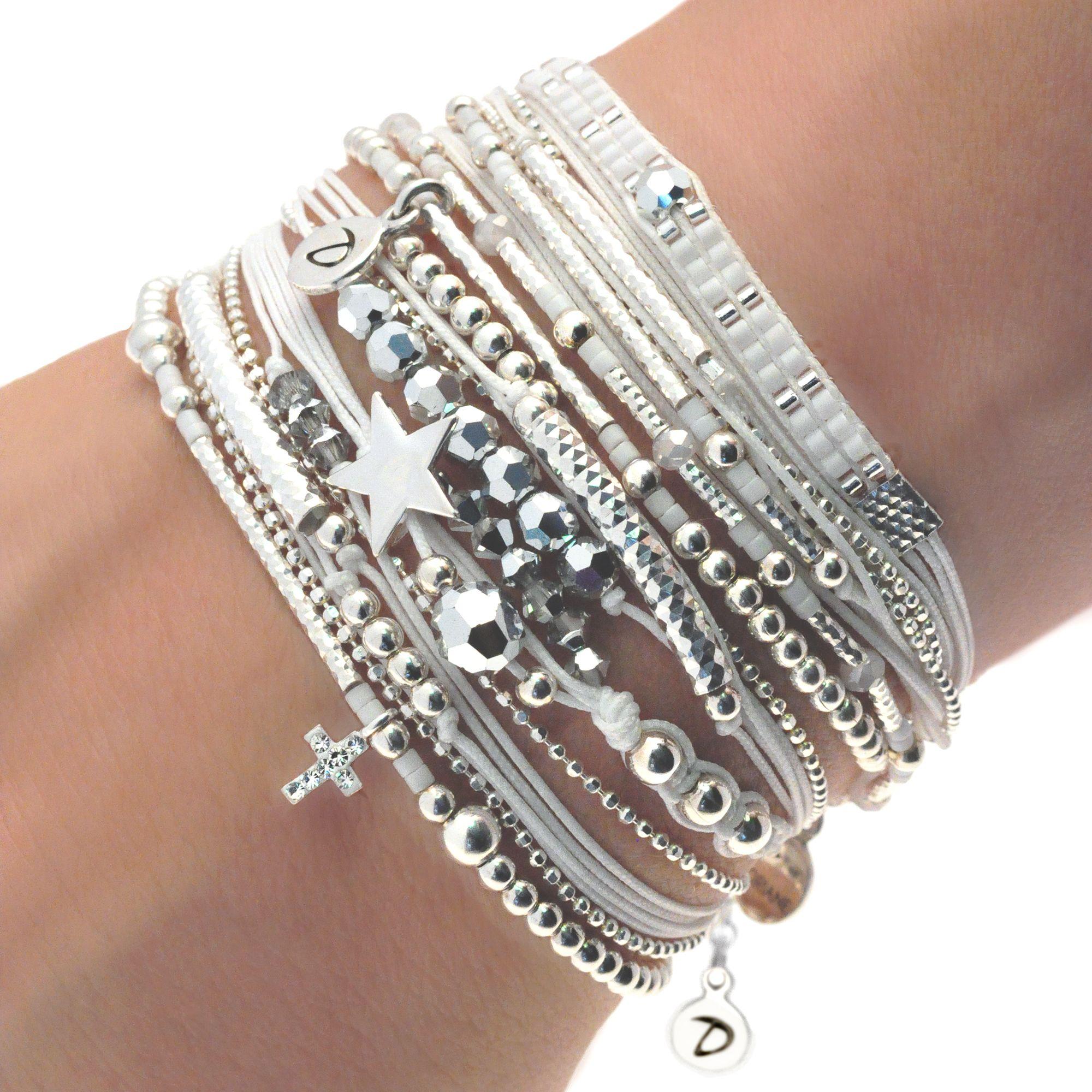 Fashion Femmes Bohème En Cuir Cristal Strass Perles Wrap Bracelet Bijoux