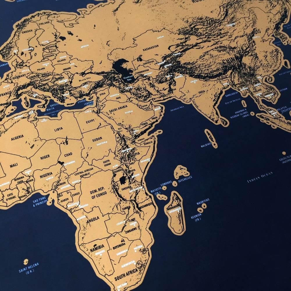 Black and Gold Scratch off Map Large