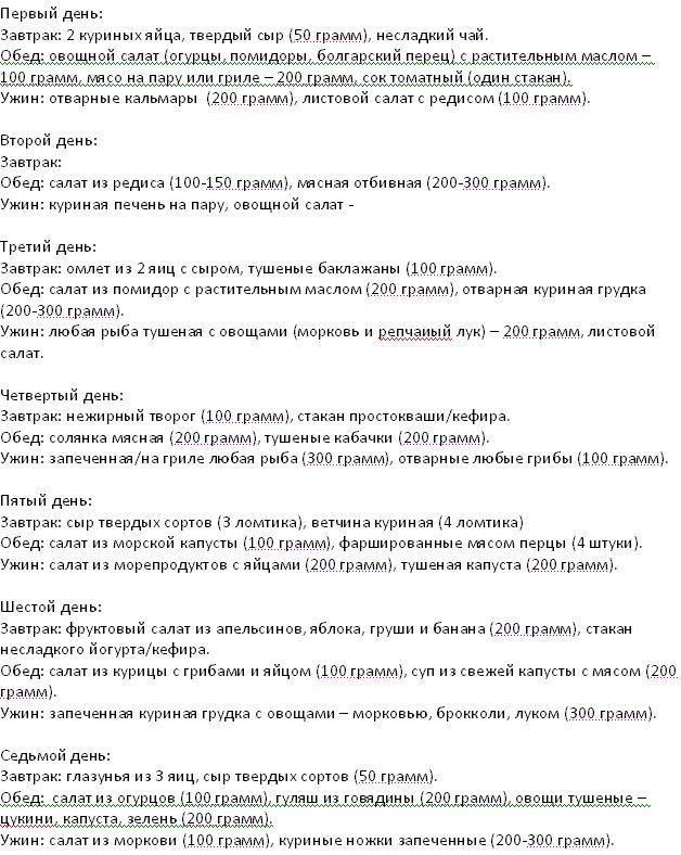 Меню кремлевской диеты на 7 дней.
