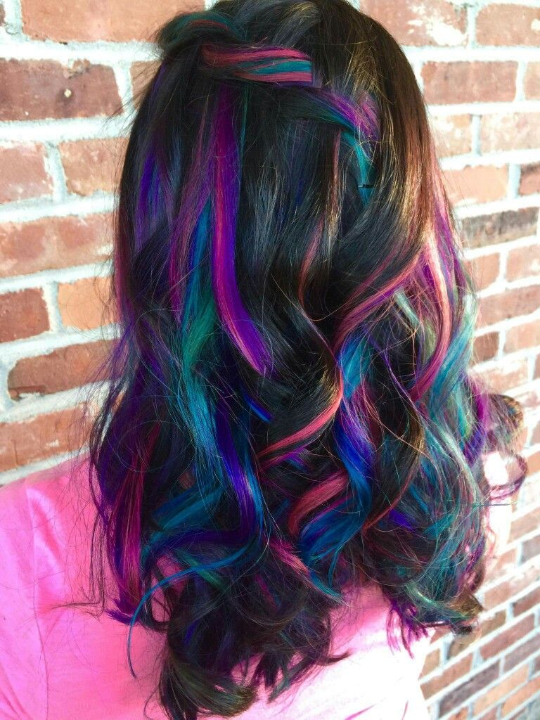 galaxy unicorn mermaid hair peek-boo