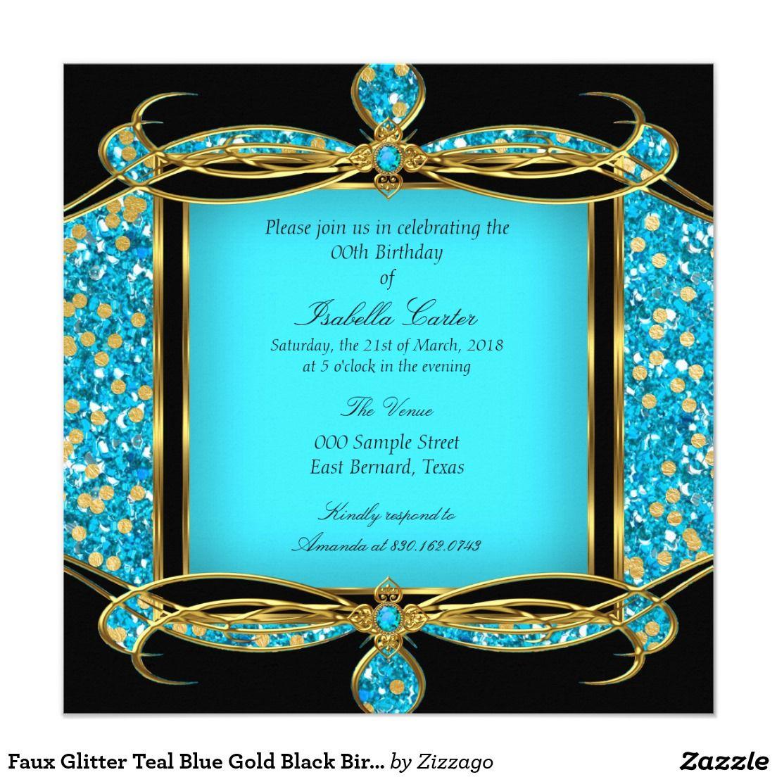 Faux Glitter Teal Blue Gold Black Birthday Party Invitation | Zazzle.com in  2020 | Party invitations, Birthday party invitations, Invitations