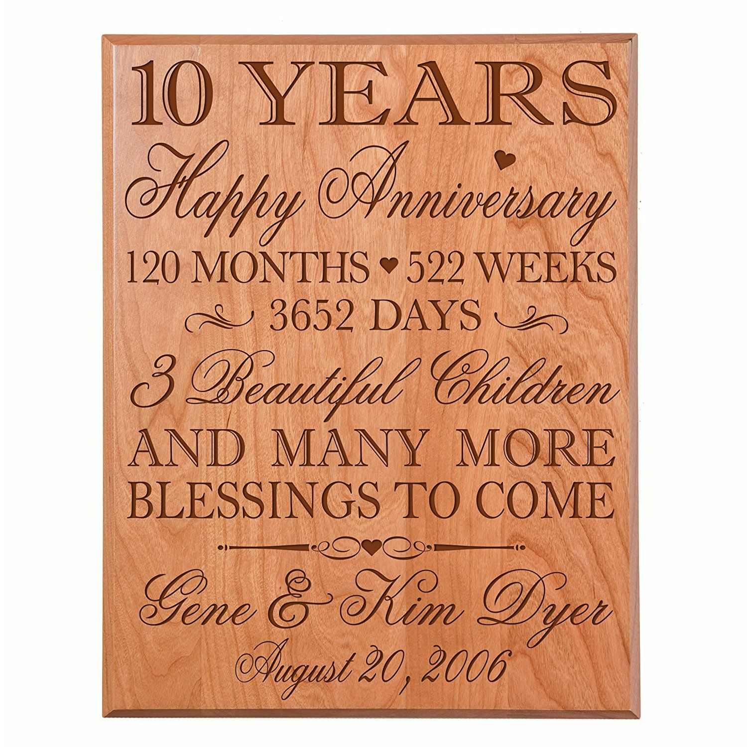 Personalized 10 year wedding Anniversary Gifts for Couple