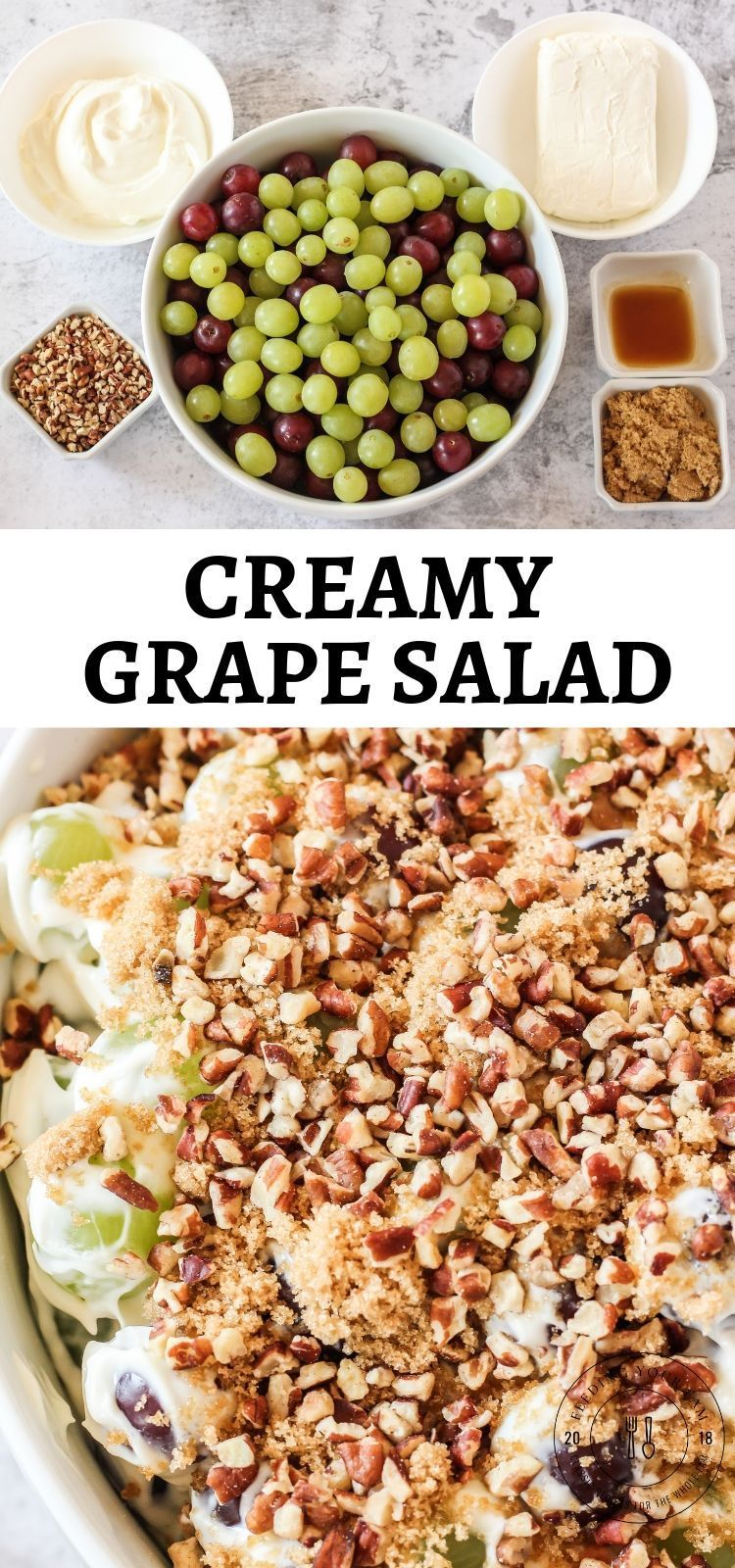 This Grape Salad Recipe is a simple and quick side dish that is loaded with red and green grapes in a creamy dressing covered in brown sugar and pecans. Perfect for potlucks and family get togethers! #grapesalad #sidedish #potluck #dessertsalad