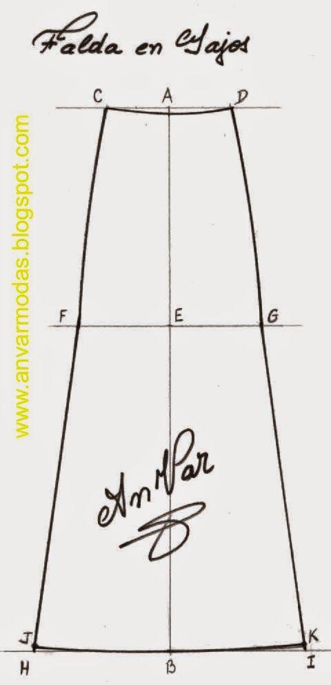 315fe839a AnVar - Te enseño a coser: PATRÓN FALDA EN GAJOS | Patrones y Moldes ...
