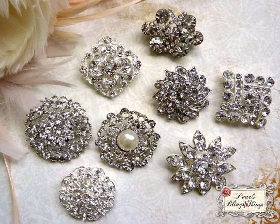 25 Pc Assortment Medium Pearl And Crystal Rhinestone Silver Metal