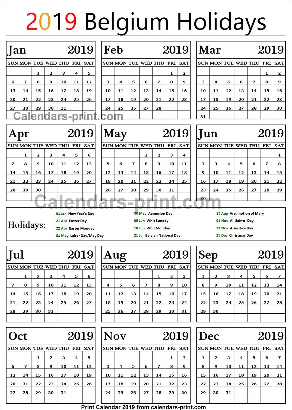 Belgium 2019 Calendar With Holidays