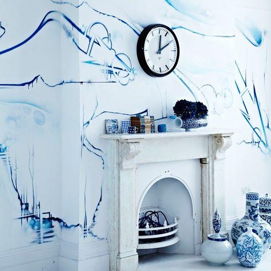 blaue graffiti wohnzimmer wohnideen living ideas interiors, Hause deko