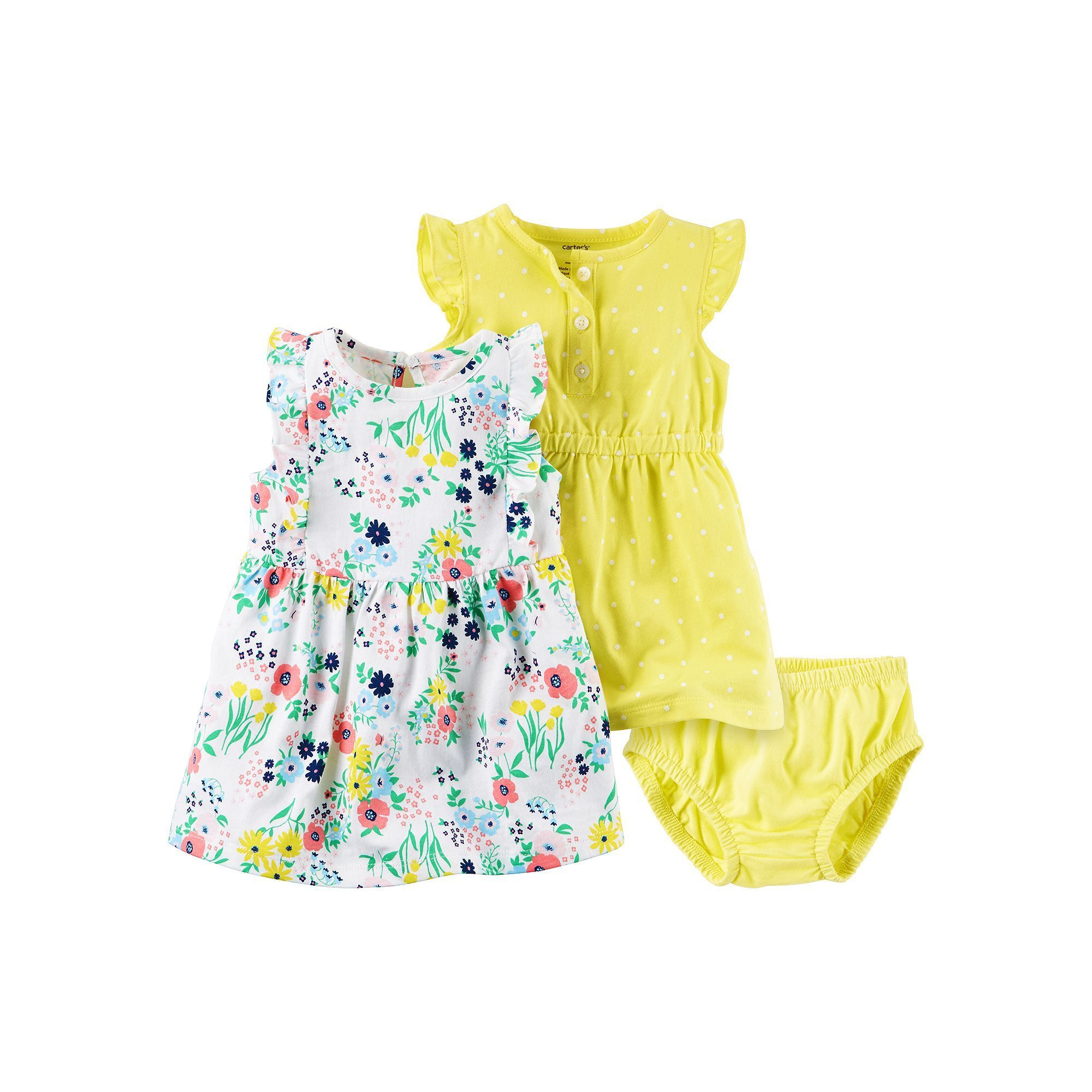 9ac95f3a9 Baby Girl Carter s Polka-Dot Henley   Ruffle Dress Set