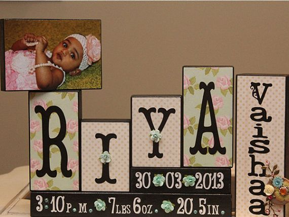 Birth Announcement Blocks - Wooden Baby Name Sign - Unique Baby Gift - Christening Gift - 4 Letters First Name and Middle Name Sign