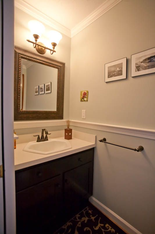 Chair Rail Ideas For Bathroom 4 tags cottage full bathroom with flat panel cabinets corian counters pedestal sink drop Bathroom Vanity 7 Bathroom Crown Molding Ideas Crown Moldings Ideas