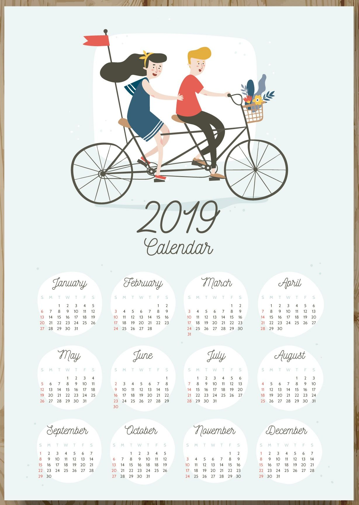 12 months 2019 one page calendar