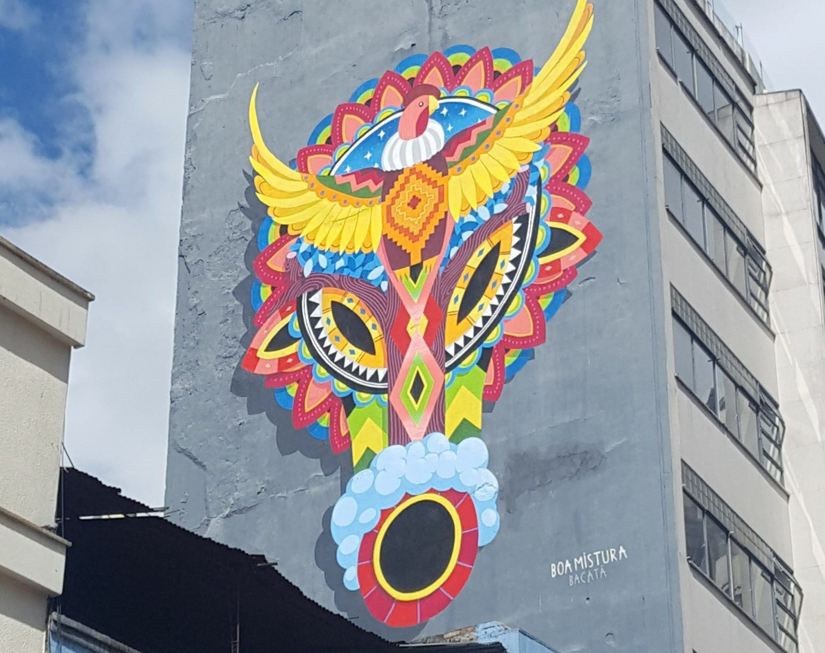 This colourful mural by Boa Mistura can be found the edge of La Candelaria, Bogota's old town. Discover the Colombian capital's amazing street art scene with the Booee app!