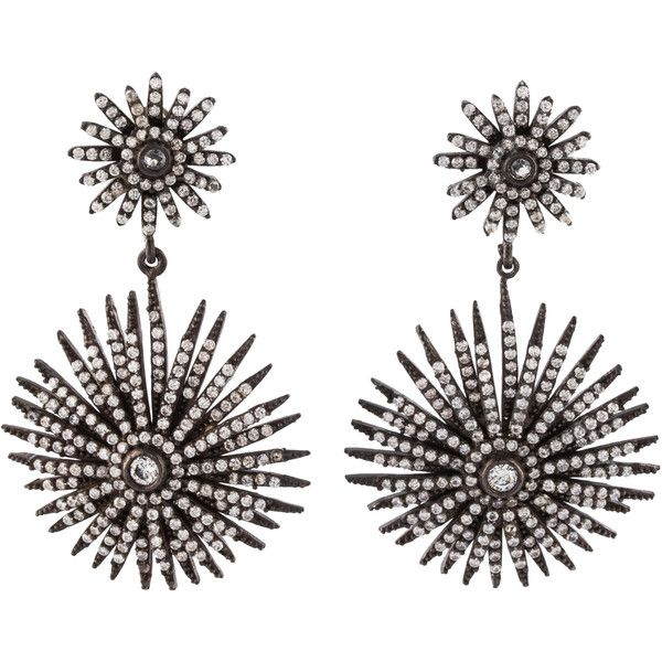 Pre-owned LFR Designs Crystal Starburst Earrings (285 CAD) ❤ liked on Polyvore featuring jewelry, earrings, silver, swarovski crystal earrings, crystal stone jewelry, crystal jewelry, swarovski crystal jewelry and crystal jewellery