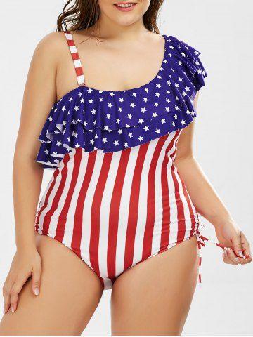 f0610a746c Skew American Flag Plus Size One-piece Ruffle Patriotic Swimwear ...