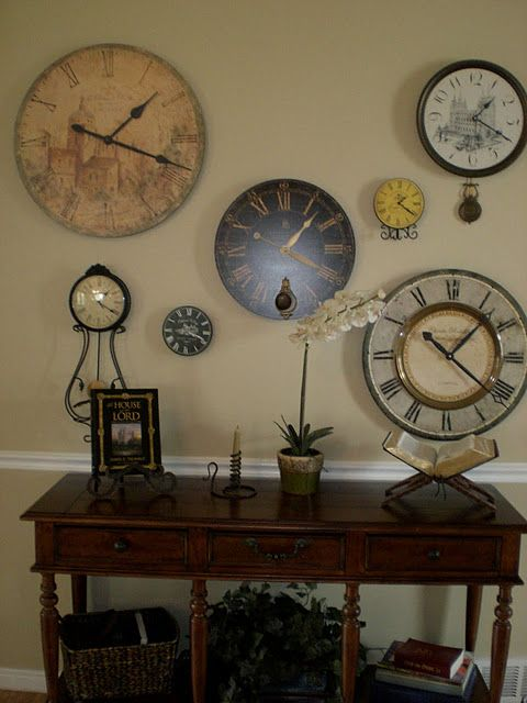 A Wall Grouping That I Can Use My Large Clock In Wall Groupings Clock Decor Picture Arrangements On Wall