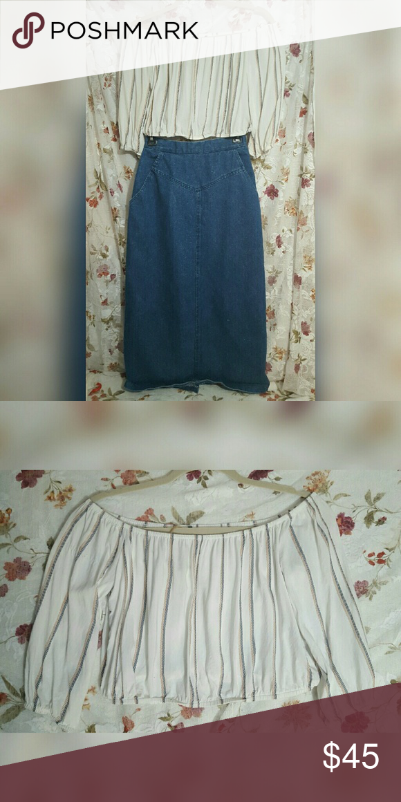 Free People Off The Shoulder Striped Crop Top Elastic bottom and arms. Tags fell out so I'm not sure of the size. Looks like a small-medium. Great condition Free People Tops Crop Tops
