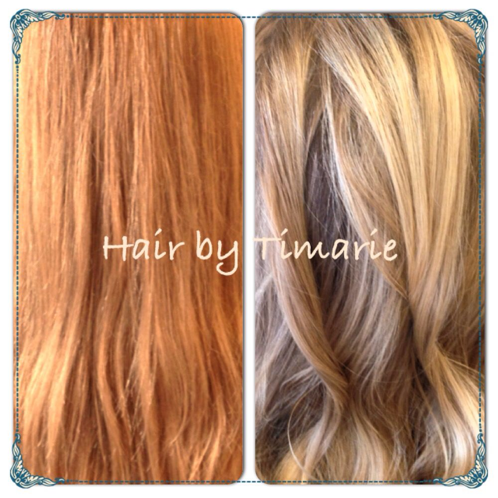 Color correction. She was a level 6 and 8 red blonde. I used ...
