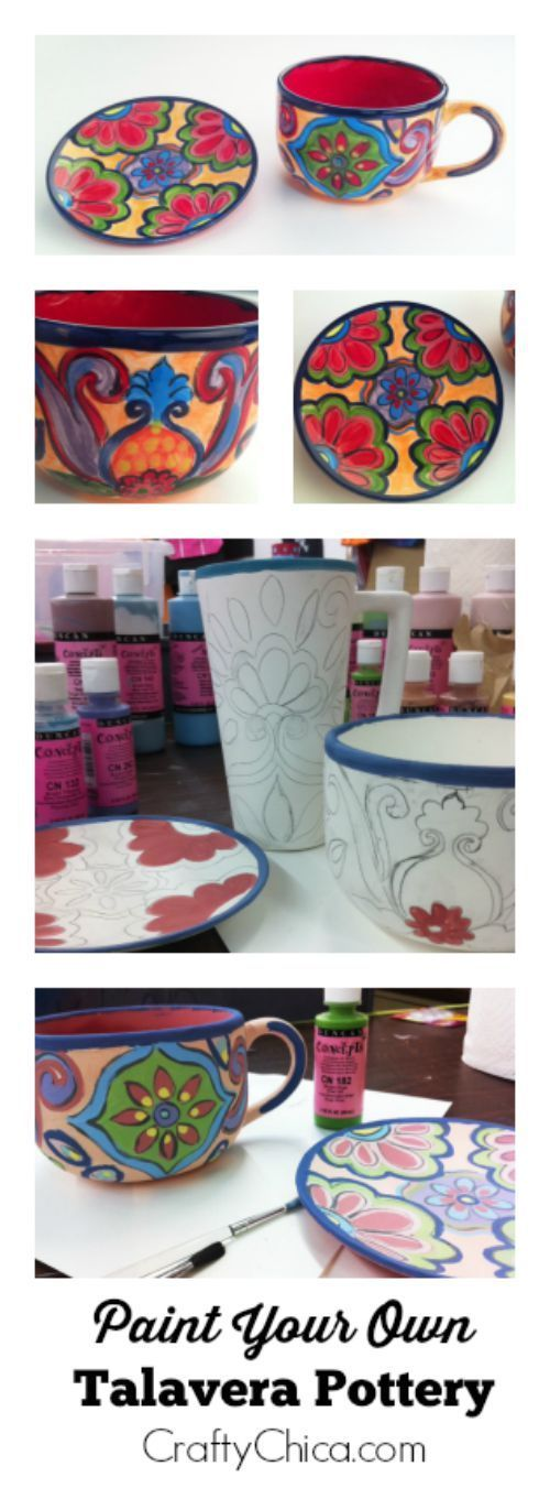 "DIY Talaverainspired Ceramic Mug and Saucer is part of Talavera, Mexican pottery, Talavera pottery, Ceramic painting, Diy ceramic, Ceramics - Here's a traditional art form from the state of Puebla, Mexico (where the Battle of Puebla took place)   Talavera pottery! Known for the cobalt blue painted accents, it usually has a color story of deep reds, earthy greens and oranges  Here are directions for my ""crafty chica"" version so you can visit your local paintonpottery store …"