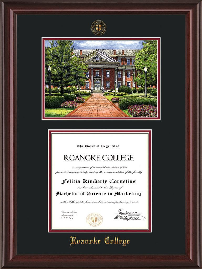 Roanoke College Diploma Frame-Mah Lacquer-w/RC Watercolor-Black ...