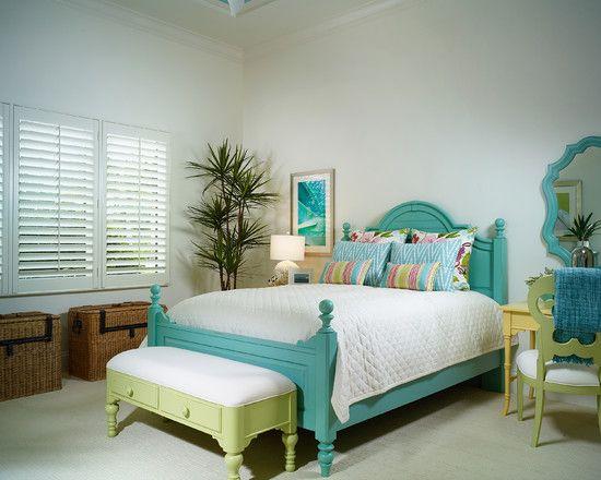 Teal/lime green bedroom