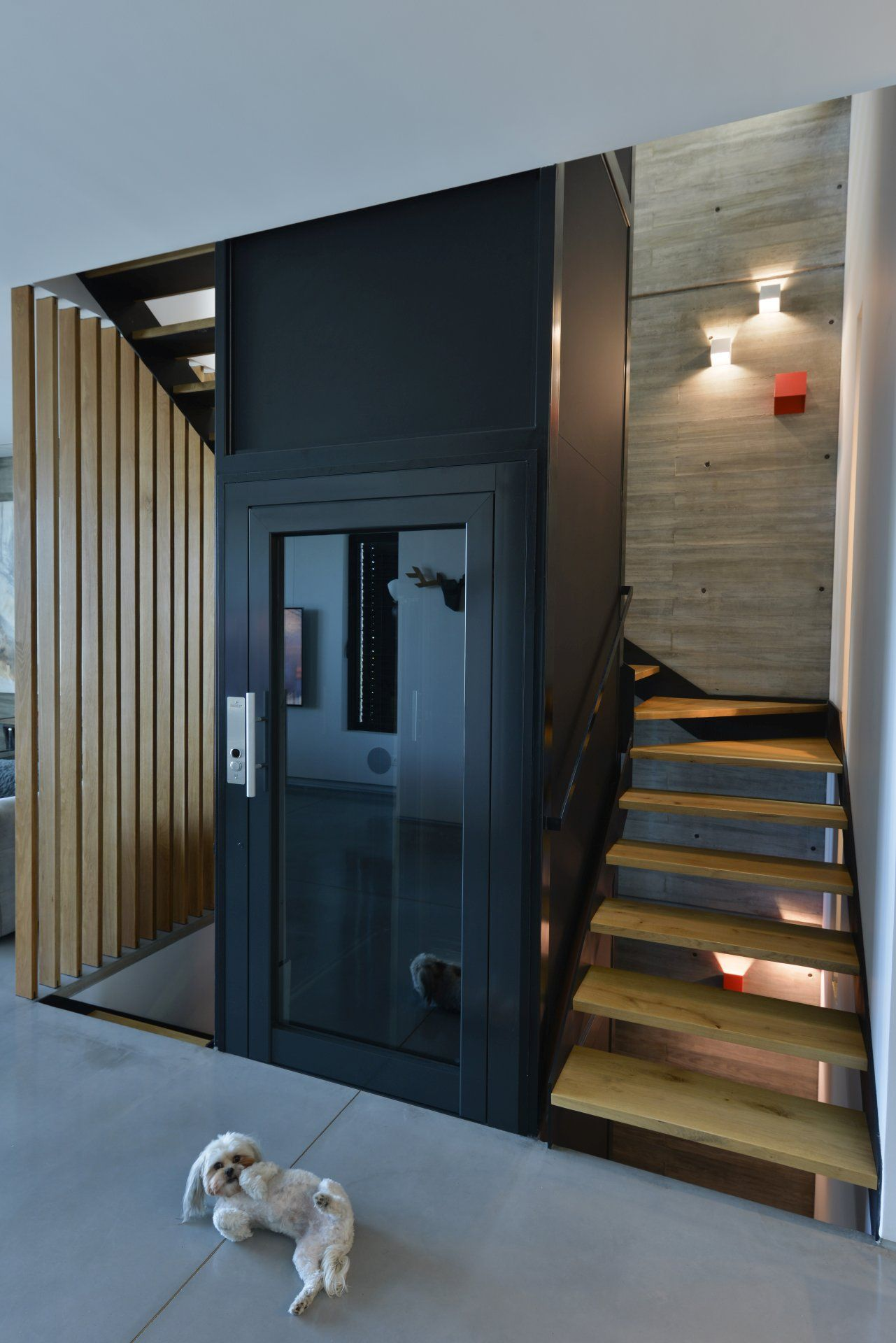 Iron Stairs Wrapped In Wood Around The Elevator House Lift   Lift And Staircase Design   Stair Railing   Glass Elevator   U Shaped Staircase   Staircase Ideas   Staircase Remodel