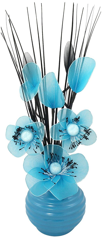 Flourish 705855 813 Blue Vase With Teal Blue Nylon Artificial