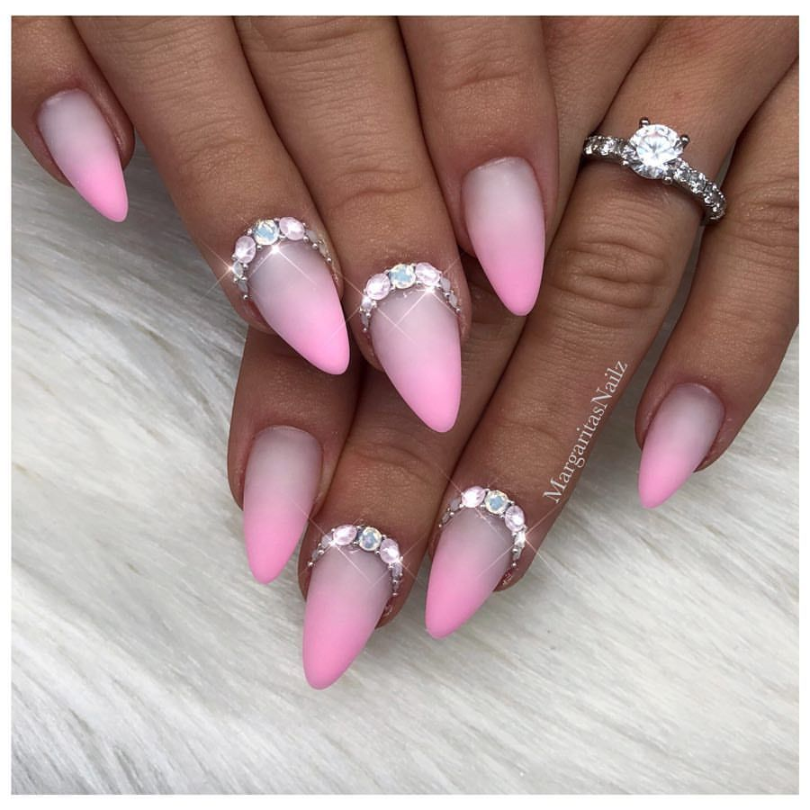 Pink Ombré almond shape nails Matte nail art design Spring fashion ...
