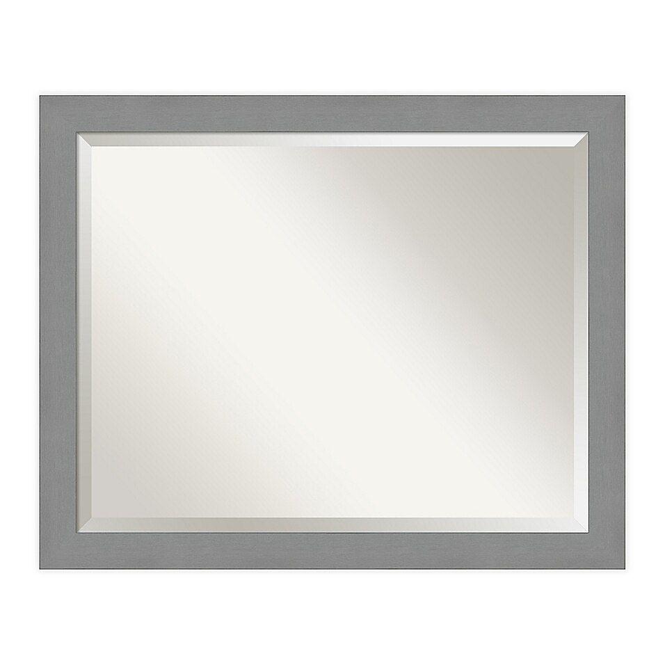 Amanti Art Brushed Nickel Vanity Mirror In Nickel Silver Bed Bath Beyond In 2021 Bathroom Mirror Frame Brushed Nickel Bathroom Mirror Bathroom Vanity Mirror