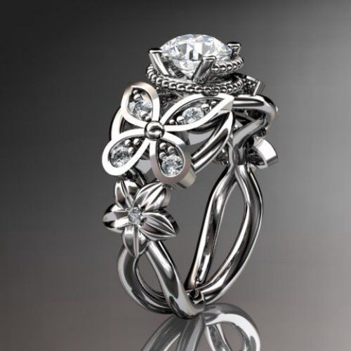 14kt white gold diamond floral butterfly wedding ringengagement - Butterfly Wedding Rings