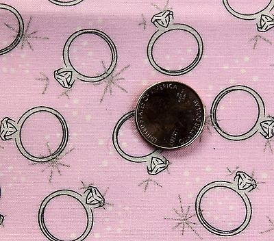 Celebrate Diamond Ring Cotton Fabric 1 Yard Pink Wedding Engagement Quilt Sewing