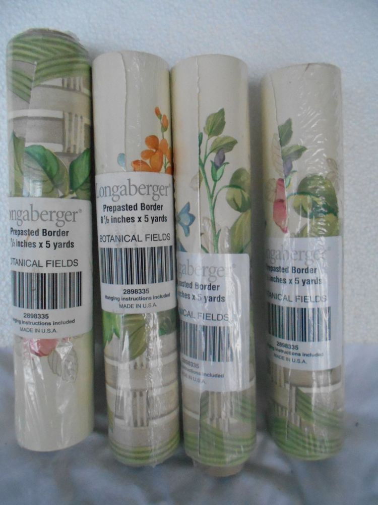 Longaberger Basket Botanical Fields Prepasted Wallpaper Border Lot