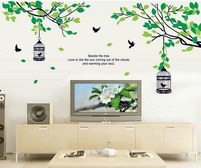 木と鳥かご3 お洒落でかわいい ウォールステッカー インテリア
