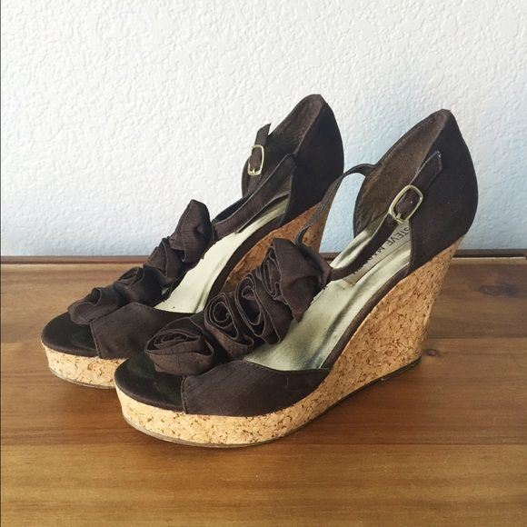 Chocolate Brown Floral Wedge Sandals Chocolate Brown fabric wedge sandals with rosettes.  Some small signs of wear. Steve Madden Shoes Sandals