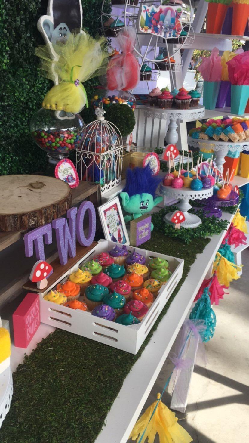 Trolls Party Trolls Candy Table Birthday Party Candy Table Trolls Birthday Trolls Birthday Cake